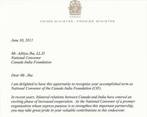 Letter of Commendation from Prime Minister Rt. Hon. Stephen Harper